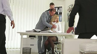 Office slut Brittany Bardot is fucked hard by hot tempered co-workers