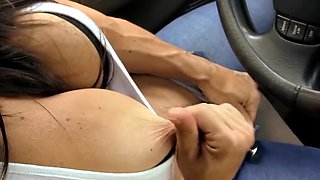 Cougar with big clit in the car