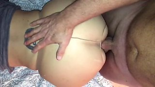 Phat Ass Nympho Fucked On The Rag In Crotchless Pantyhose