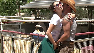 Gorgeous blond mommy Alana Evans watched kinky slutty GF sucking brutal cowboy off