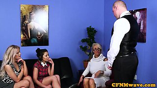 CFNM babes wanking cock until quick cumshot