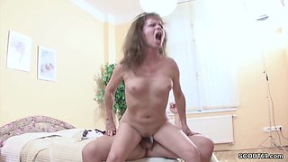 Horny stud seducing a granny and gives her his huge cock