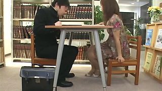Kinky Japanese Babe Having Fun Under The Table