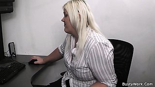 Blonde secretary suck and fuck at work