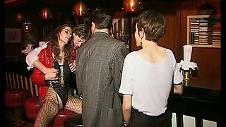 Horny classic blonde bitch blows big white dick after party