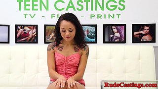 Inked casting teen gets jizzed in her mouth