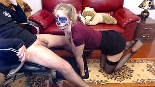 Naughty blonde teen in stockings delivers a sensual blowjob