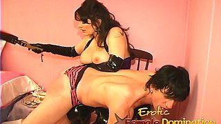 Latex-clad busty slut has some kinky fun with her horny man