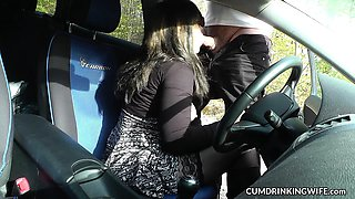 Slutwife Marion fucked by many guys in her car