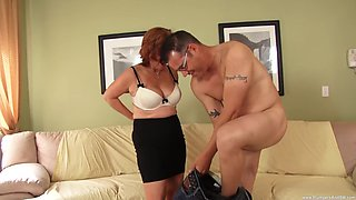 Chubby cougar Calliste gets surprised with a long stiff dick