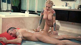 Captivating tattooed bitch with pierced clit Sarah Jessie gives the best nuru massage