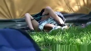 Drunk girl having sex with a boy under a tent