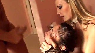 Blonde mistress dominate brunette