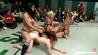 Brutal 4 girl Tag Team Match up! Non-scripted, sexual submission wrestlingCrushing scissor holds