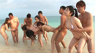 Hina Maeda, Kyouko Maki and Yui Nanase are fucking on a beach in a dirty group sex