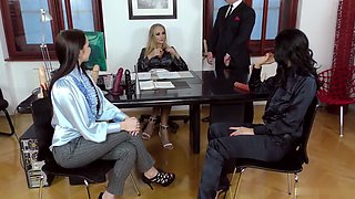 Director Kayla Green shows two candidates for a position how to service the boss cock