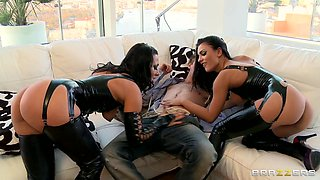 Two Brunetts Dominating A Man