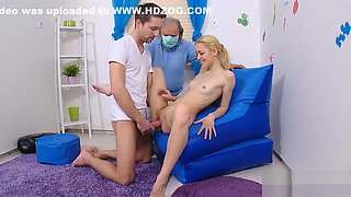 Stud assists with hymen checkup and nailing of virgin girl