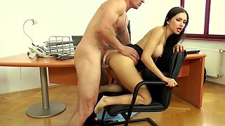 Brunette Sasha Rose has anal with her boss