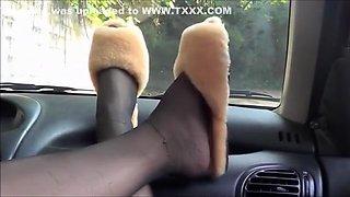 Horny homemade Car, Foot Fetish xxx clip