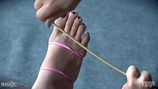 Luckily flexible Asian hottie Milcah Halili gets her toes sucked a bit
