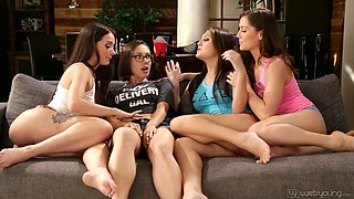 Delicious babe Gia Paige arranges dirty lesbian orgy at home