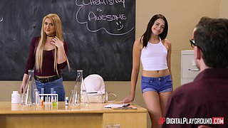Alexis Fawx and Ariana Marie seduce a geek for a threesome