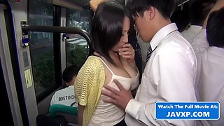 Hot asian milf fucked on the bus