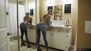 Busty blonde MILF in tight jeans Chloe Temple gets a doggy style fuck