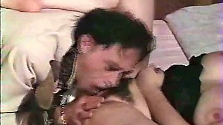 Sensual classic white milf on the bed licked and fucked in the hairy pussy