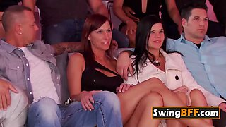 Horny guy gets lapdance from his friend&#39s topless wife at swing house