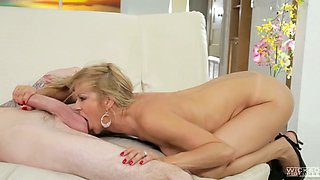 Spicy hot MILF is riding this nerd's schlong with unbridled passion