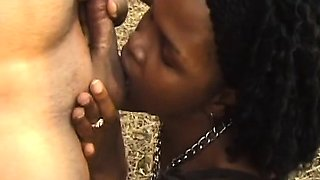 Outdoor BDSM and deepthroat with a busty African slut