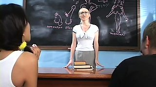 Horny teacher licks student's shaved pussy and fingers butt
