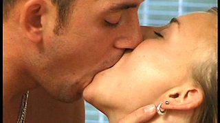 Classy blonde babe gives her lover a great blowjob