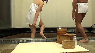A Japanese MILF And College Student Onsen Fuck