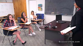 Nasty college teen punished by busty professor