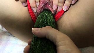 017 Sex slave get punish by Vegetable