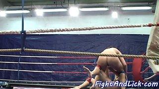 Wrestling lesbians pussylicking passionately