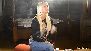 Smoking blonde babe