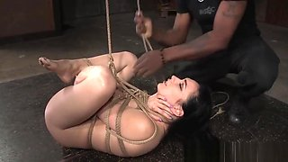 Restrained sub disciplined by black maledom