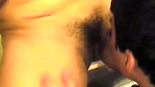A friend tongue fucked his aunt in bathroom and sucked her titties