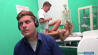 blonde goes to the doctor, sucks cock and gets drilled