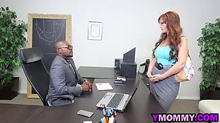 amazing interracial office threesome with big boobed milf