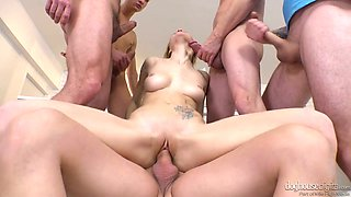 Sexually charged masseuse Belle Claire is fucked by several guys in the massage parlor