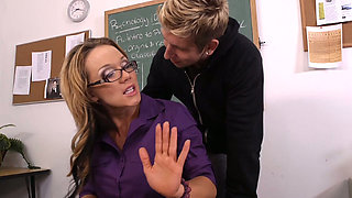 Disgraceful chubby teacher Nikki Sexx gets molested by schoolboy