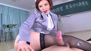 Nice ass teacher in nylon stockings loving her pussy licked