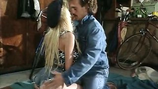 Blonde rocker babe gives blowjob and rides her brutal partner's cock