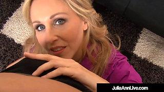 Milf Queen Julia Ann Blows A Cock POV & Spits Jizz On Feet!