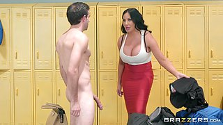 curvy milf seduces jake adams in the locker room